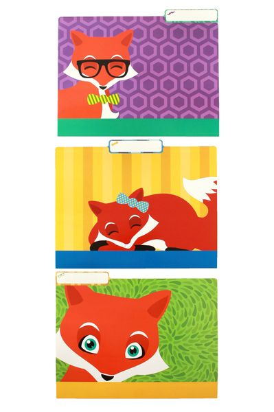 Organize your paperwork in style. These bright and colorful file folders add personality to your filing system. Match your Foxtrot classroom theme, or add some variety to your decorations.  Fill your classroom with a foxy new theme. The Foxtrot Collection is perfect for bringing in a new character driven classroom theme featuring hipster cartoon foxes kids will adore. Bring style and personality into your decorating theme.