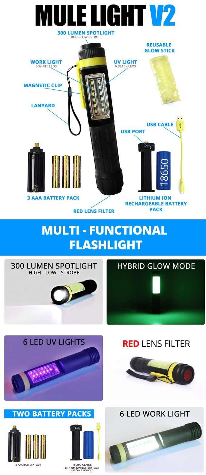 The Mule Light V2 - the most innovative flashlight features new hybrid mode, spotlight, task light, black light, and two power options