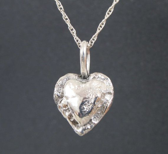 Silver Heart Necklace, Mother and Child Necklace, Fabricated Silver Necklace, Metalwork, Valentines Day Heart, Recycled Silver, Double Heart...