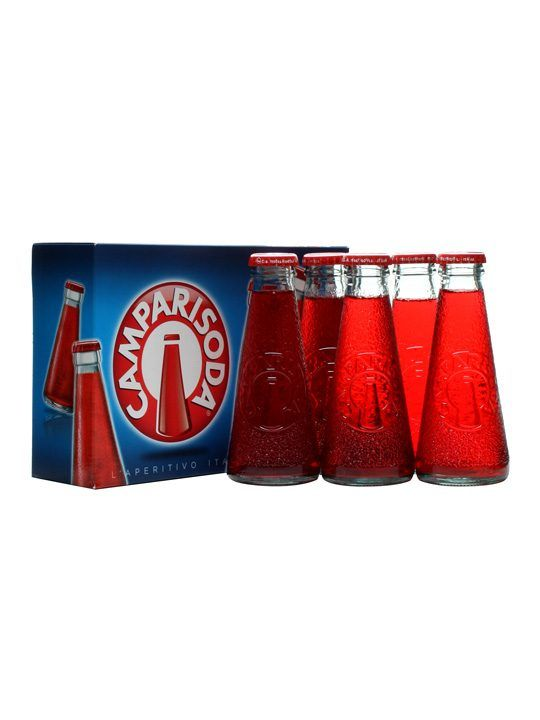 A pack of five bottles of premixed Campari and Soda, inventively named 'Camparisoda'. This classic mixed long drink is perfect served over ice as a refreshing thirst quencher.