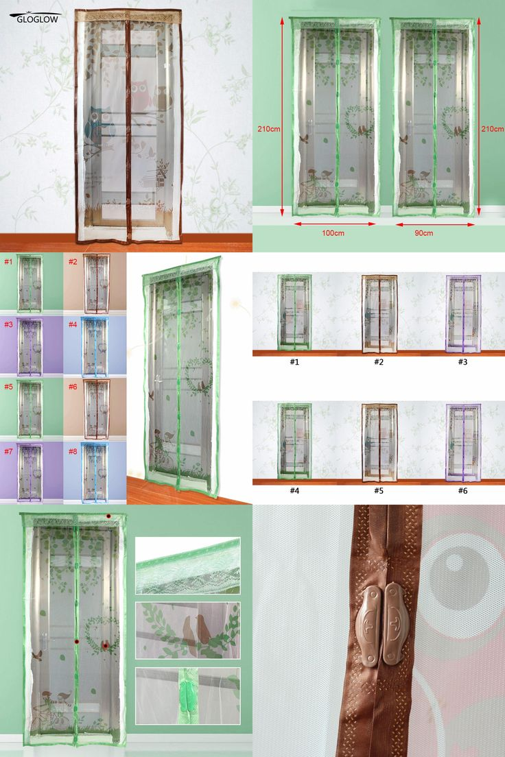 [Visit to Buy] Owl/Lovebirds Pattern Magnetic Mesh Screen Door Mosquito Net Curtain Protect Kitchen Window Organza Scree 90*210cm/100*210cm #Advertisement