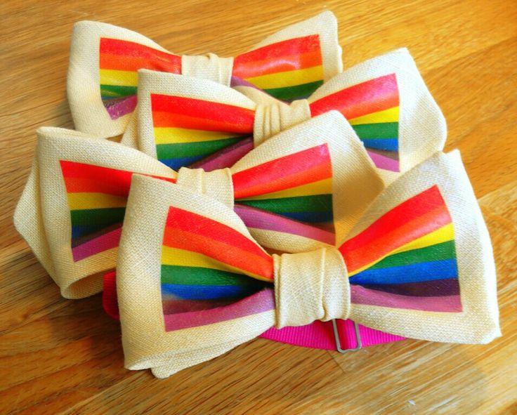 Proud Linen Bowties! #pride #lgbt #rainbowflag #linen #bowties #handmade #simonsbowties