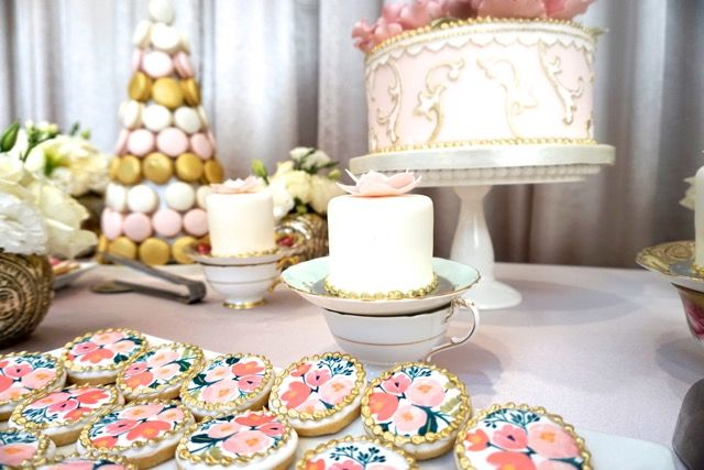 Blush & gold bridal shower sweet table with Rifle Paper Co.-inspired cookies!