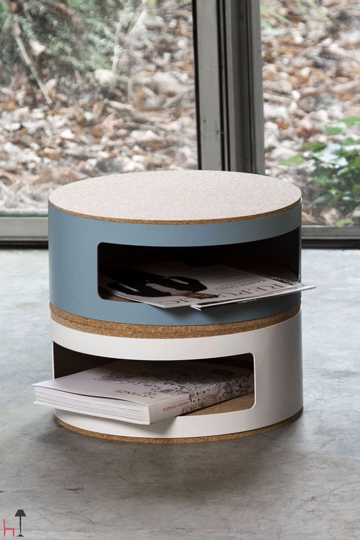 Kork is a small multifunctional bedside table designed by the duo Twodesigners.