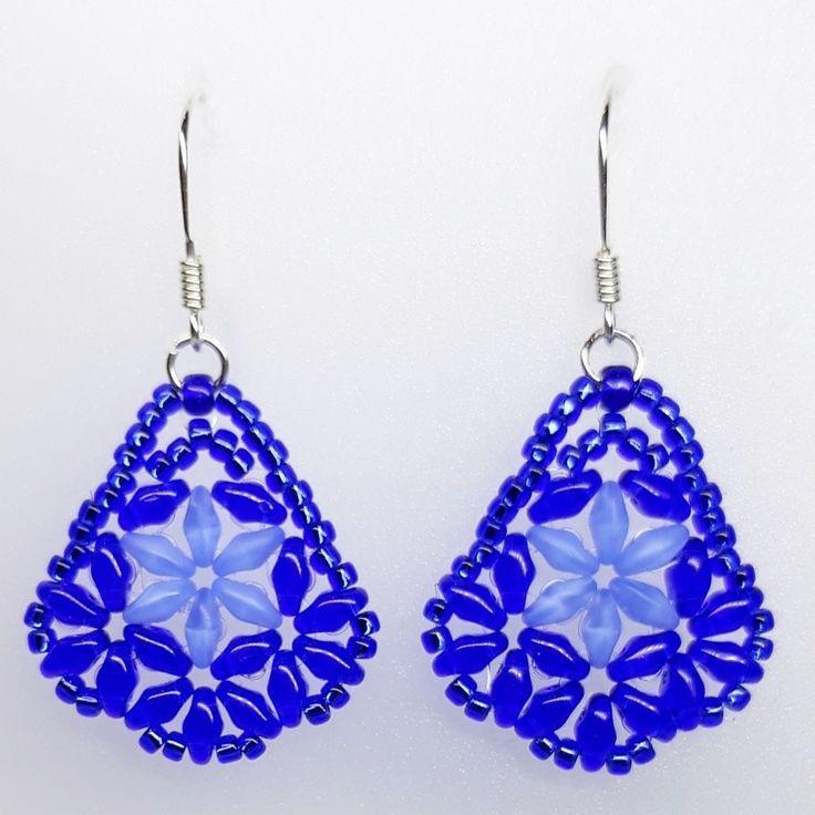 #earrings #kolczyki #superduo #toho #kobalt #cobalt #opalblue