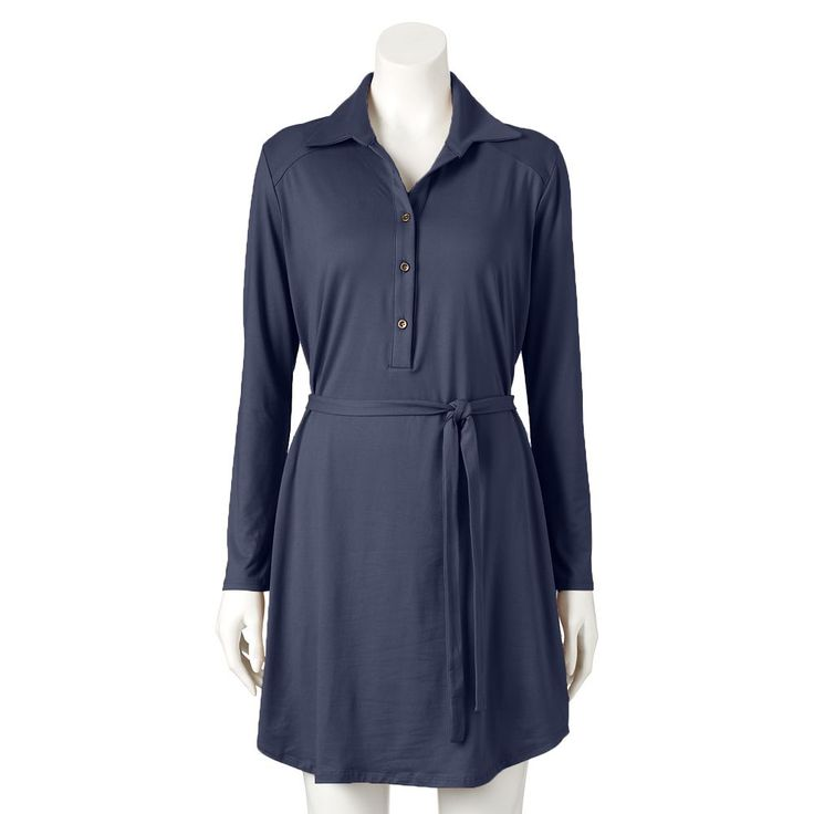 Women's Double Click Solid Shirtdress, Size: Medium, Blue (Navy)