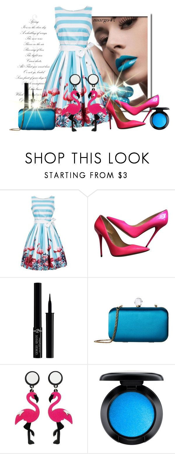 """paski :)"" by margo47 ❤ liked on Polyvore featuring Jimmy Choo, Giorgio Armani, SJP and MAC Cosmetics"