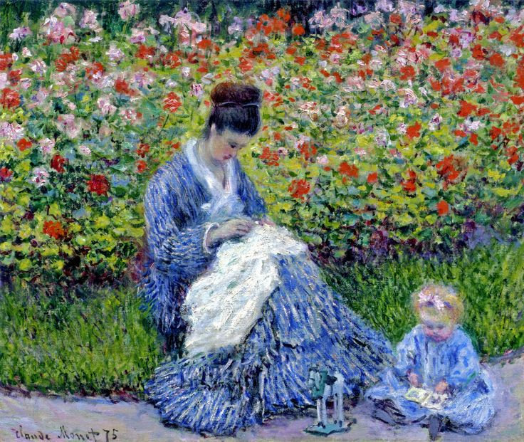 Camille Monet and a Child in the Artist's Garden in Argenteuil - Claude Monet 1875