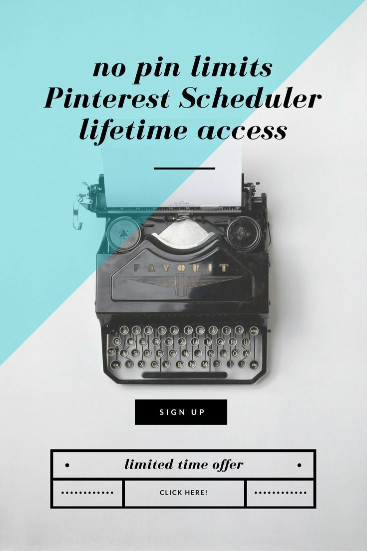Get unlimited pining with this Pinterest scheduler. Also has an auto follow/unfollow feature. Lifetime access for a one-time fee for a limited time! (*afflink*)