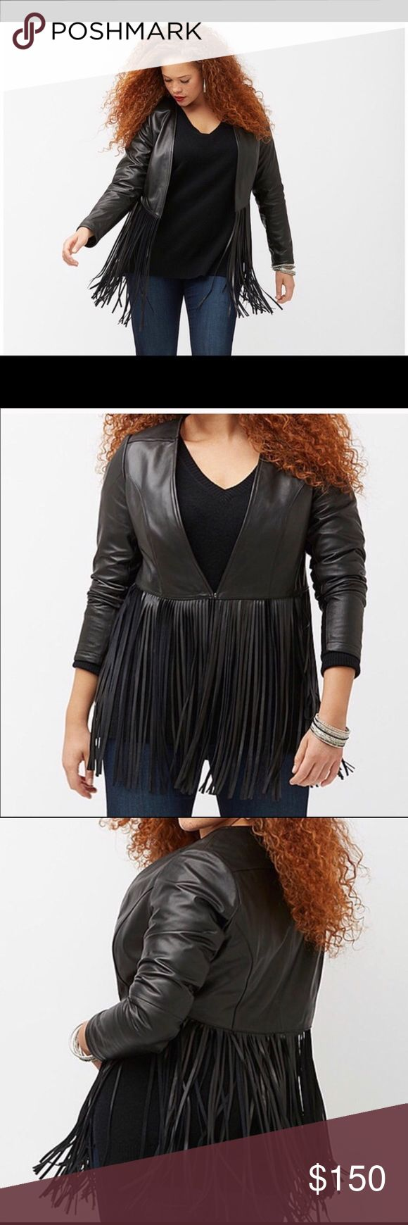 PLUS size amazing leather jacket with fringe 18/20 This jacket is amazing. It's from lane bryant and new with tags still on hanger. Never worn. Paid $500 for it, so price is FIRM. Thanks for looking. Lane Bryant Jackets & Coats Blazers