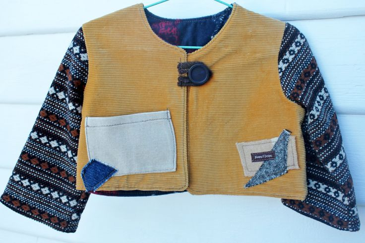 size 1, 12 month old, boys winter jacket,  vintage corduroy, vintage wool and cotton, funky and stylish, button front, fully lined by mamma5design on Etsy