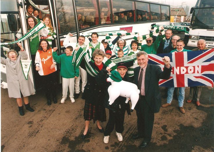 Hendon FC before setting off on the trip across the border to play Cardiff. 16 November 1996.