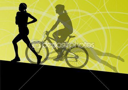 Yüzme ve Bisiklete binme daha triatlon maraton aktif genç kadın — Stok İllüstrasyon #39225169