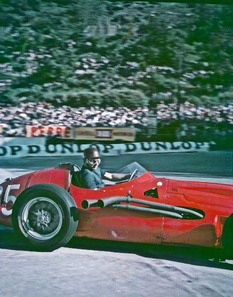 That's an exhaust pipe. Monaco GP, 1957. In practice Fangio tried the V12 Maserati 250F, but ran with the 6-cylinder