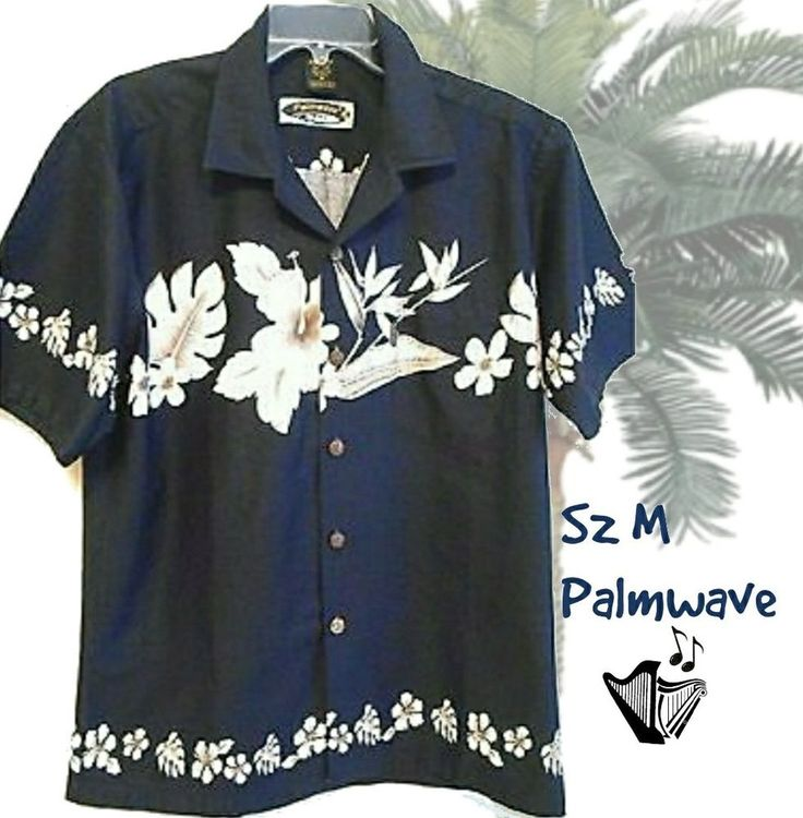 Mens Hawaiian Shirt Sz M Palmwave Blue & White Cotton Short Sleeve  #PalmwaveHawaii #ButtonFront #mensshirt #Hawaiian #vacationwear #honeymoonwear #bowlingshirt #hawaiianshirt #blue #mensfashion #casualfashion
