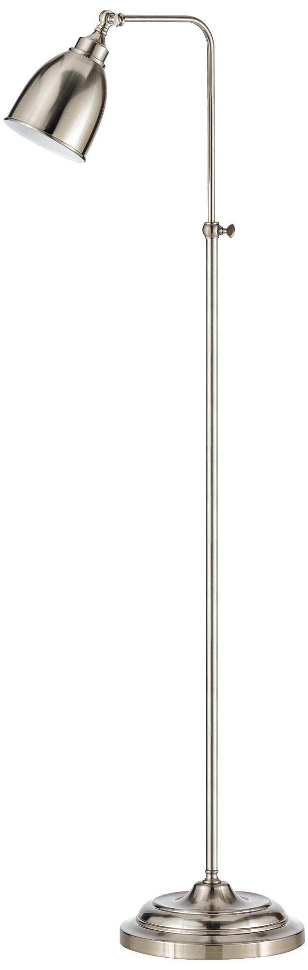 Ikea Kallax High Gloss White ~ Brushed Steel Metal Adjustable Pole Pharmacy Floor Lamp  Steel Metal