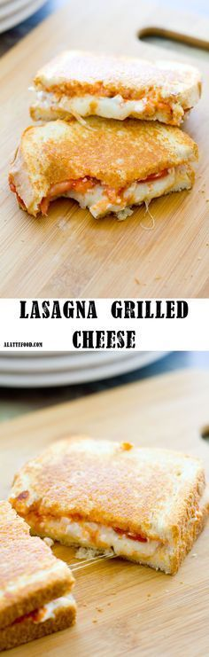 Lasagna Grilled Cheese | This sandwich is pure, unadulterated comfort food! All the lasagna ingredients sandwiched between two slices of grilled bread = Heaven!