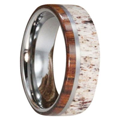 Titanium Ring with Ironwood and Deer Antler. This ring is from our Exotic Wood Collection, the most prestigious of all of our collections - rings are made by hand, no two are the same.