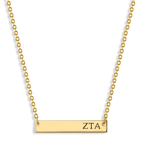 Zeta Tau Alpha Bar Stamped Personalized Necklace // Name Plate Necklace // Sorority Jewelry // Sorority Gifts // Big Little