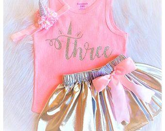 Unicornio rosa de traje, traje 3 de cumpleañera, de tutu de cumpleaños 3 y 3er cumpleaños, chicas de plata 3er cumpleaños equipo Unicornio, tres tutú conjunto