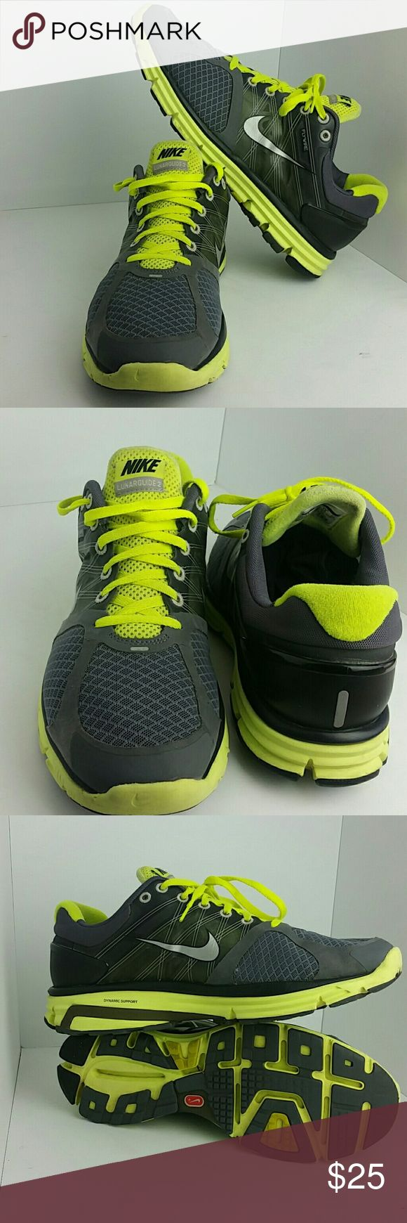 NIKE LUNARGLIDE 2 II MEN'S SHOES IN GOOD CONDITION WITH A SMALL HOLE ON THE LEFT SHOE AS YOU CAN SEE IN THE LAST PICTURE WHICH IS NOT NOTICEABLE WHEN YOU HAVE IT ON   SKE # TUB NIKE  Shoes Athletic Shoes