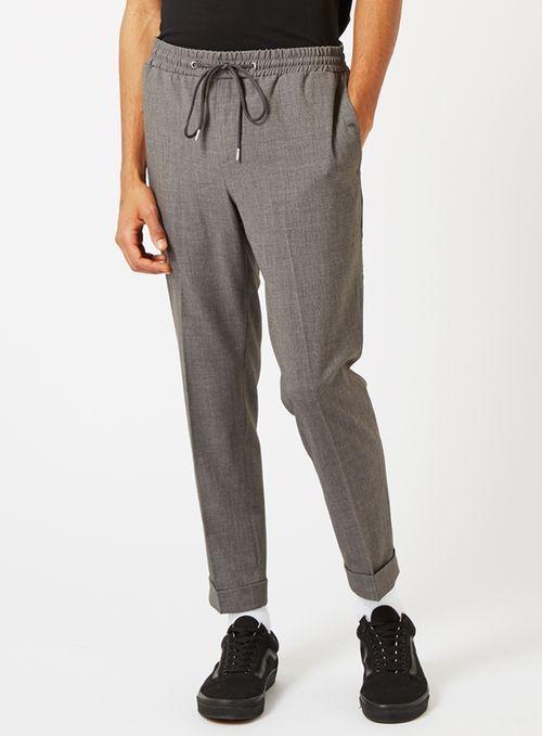 Mid Grey Smart Joggers - Men's Trousers - Clothing - TOPMAN