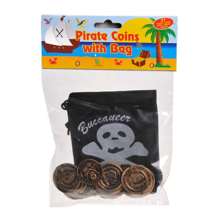Stoere piratenmunten in een zwart geldzakje. Maak jouw piratenavontuur nog realistischer. De set bestaat uit 30 munten en een geldzakje voor een echte piraat. Afmeting: munt diameter 3 cm - Piraten Munten in Zakje