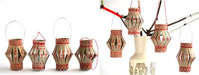 Toilet Roll Lanterns - white rolls with red glitter or maybe Brown rolls with Gold glitter.
