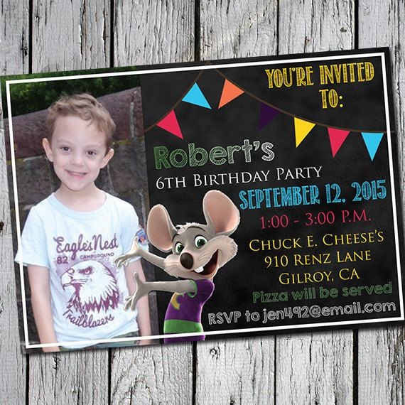 Chuck E. Cheese's Birthday Party Invitation By