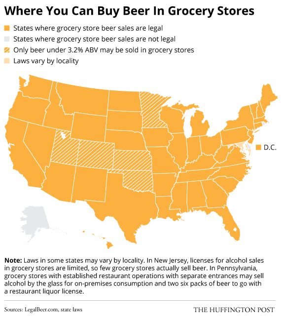 Where You Can Buy Beer in Grocery Stores // Here Are The Rules To Buying Alcohol In Each State's Grocery Stores via @HuffingtonPost