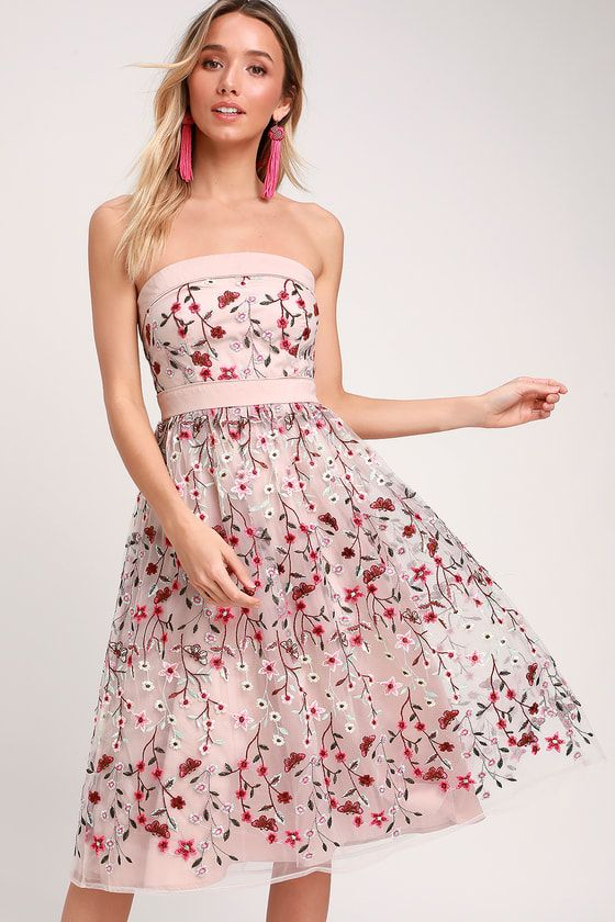 8565d6a43b66 Make every day magical with the Lulus Beautiful Day Taupe Floral  Embroidered Strapless Midi Dress! Butterfly and floral embroidery accent  this strapless ...