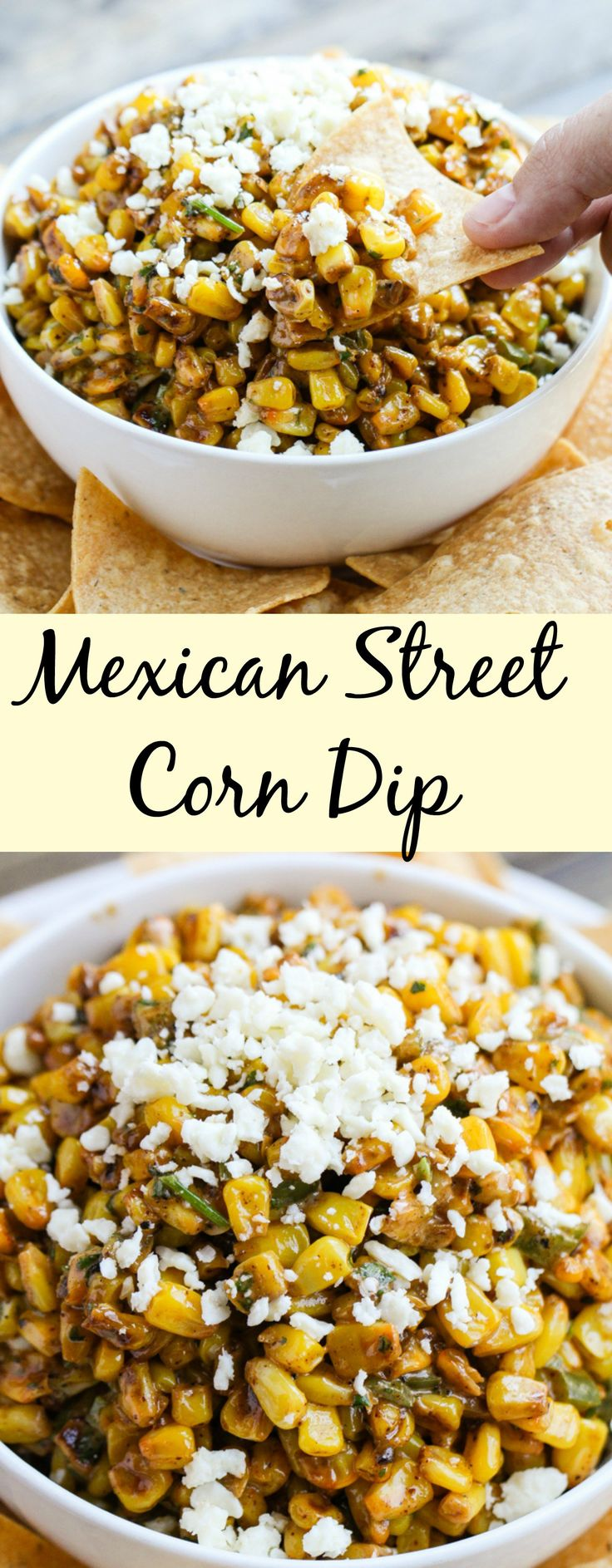 A simple Mexican street corn dip served with tortilla chips. It can be served and enjoyed warm or cold.