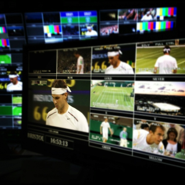 View from the Control Room at Wimbledon of Rafael Nadal's shocking loss to Lukas Rosol of Czech Republic. Photo: Tennis by Lisa