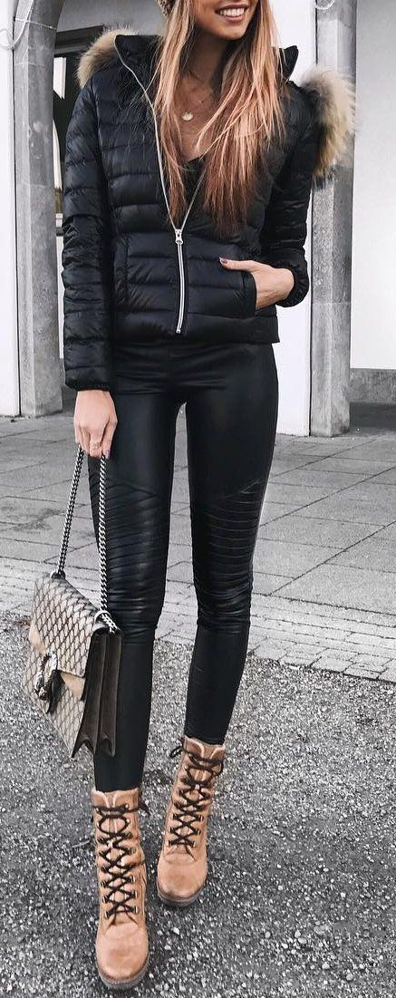 #outfit #ideas · Puff Jacket // Skinny Leather Pants // Ankle Boots