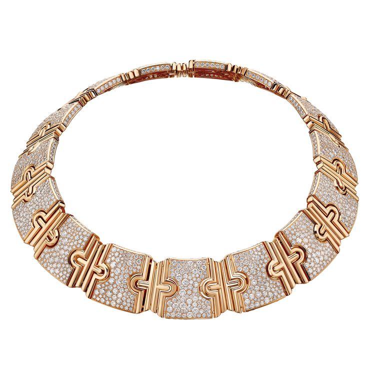 Bulgari Parentes gold necklace set with diamond pavé