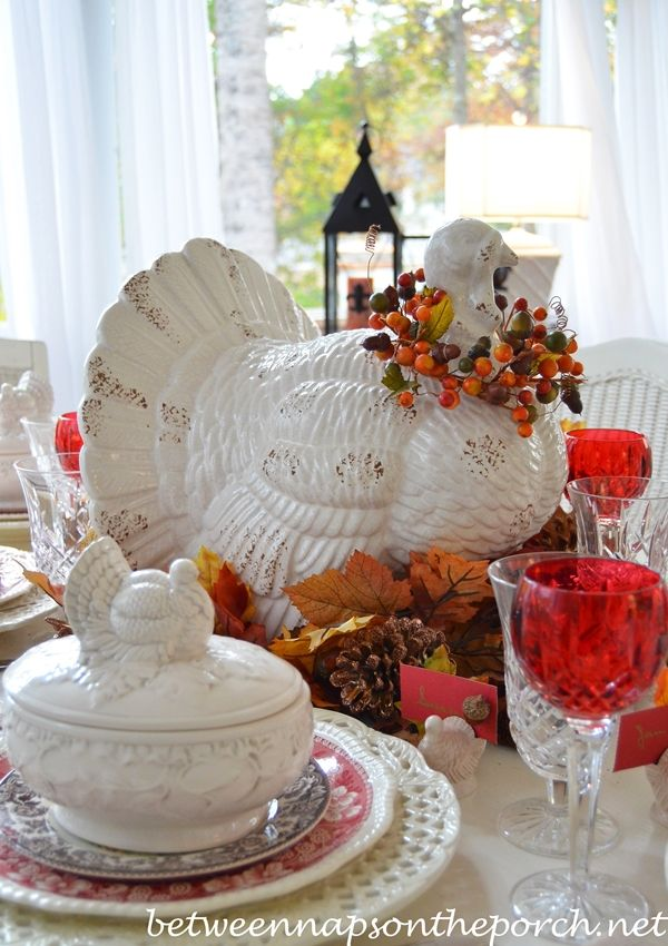 Thanksgiving Table Setting Tablescape with Spode Woodland, Copeland Spode Tower, Rustic Turkey Centerpiece and Turkey Tureens: