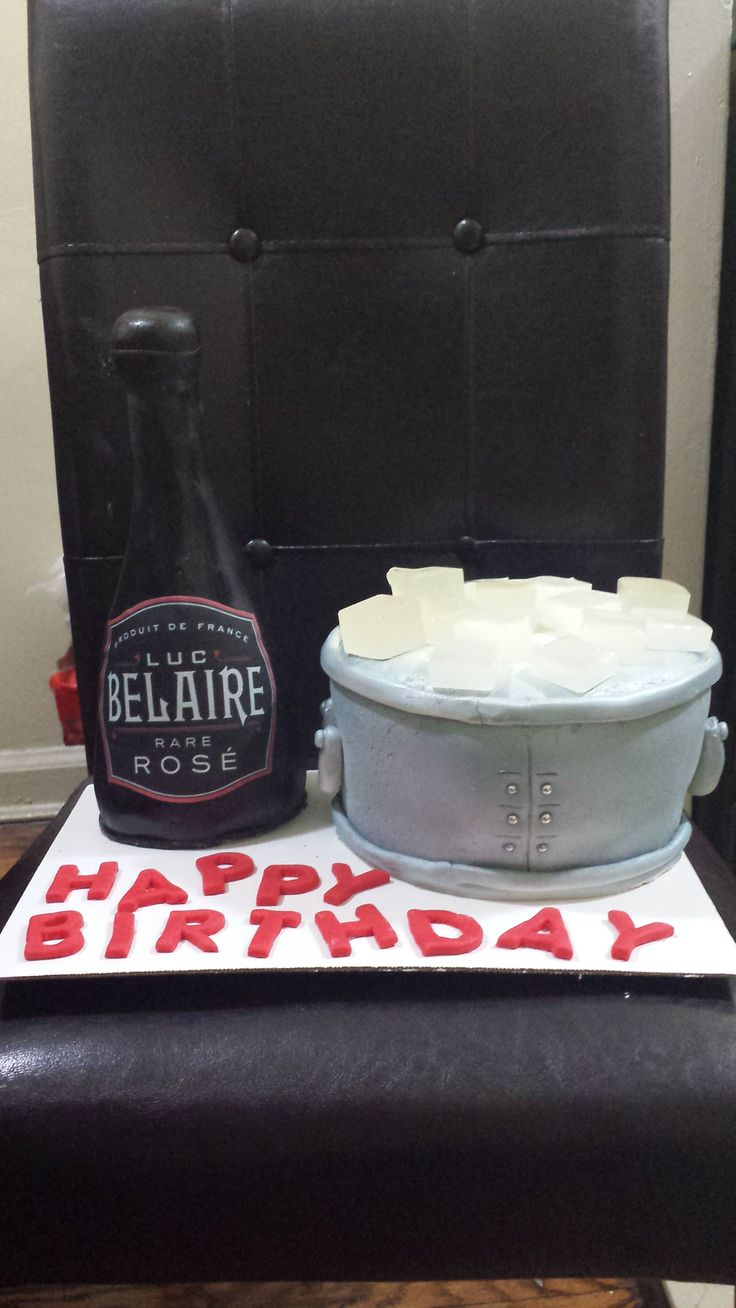 Bellaire Champagne Bottle and Ice Bucket Cake