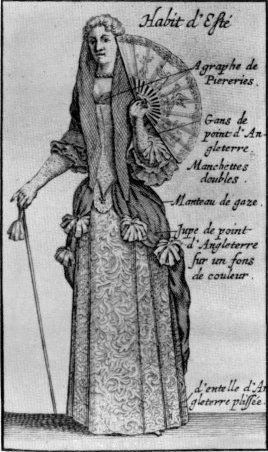 """Summer dress of a lady: June 1689, """"with a pleated lace (Point d'Angleterre) petticoat,"""" from the """"Extraordinaire"""" of the """"Mercure Galant."""""""