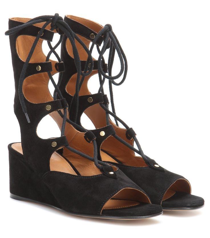 Schwarze Gladiatoren-Sandalen aus Veloursleder By Chloé