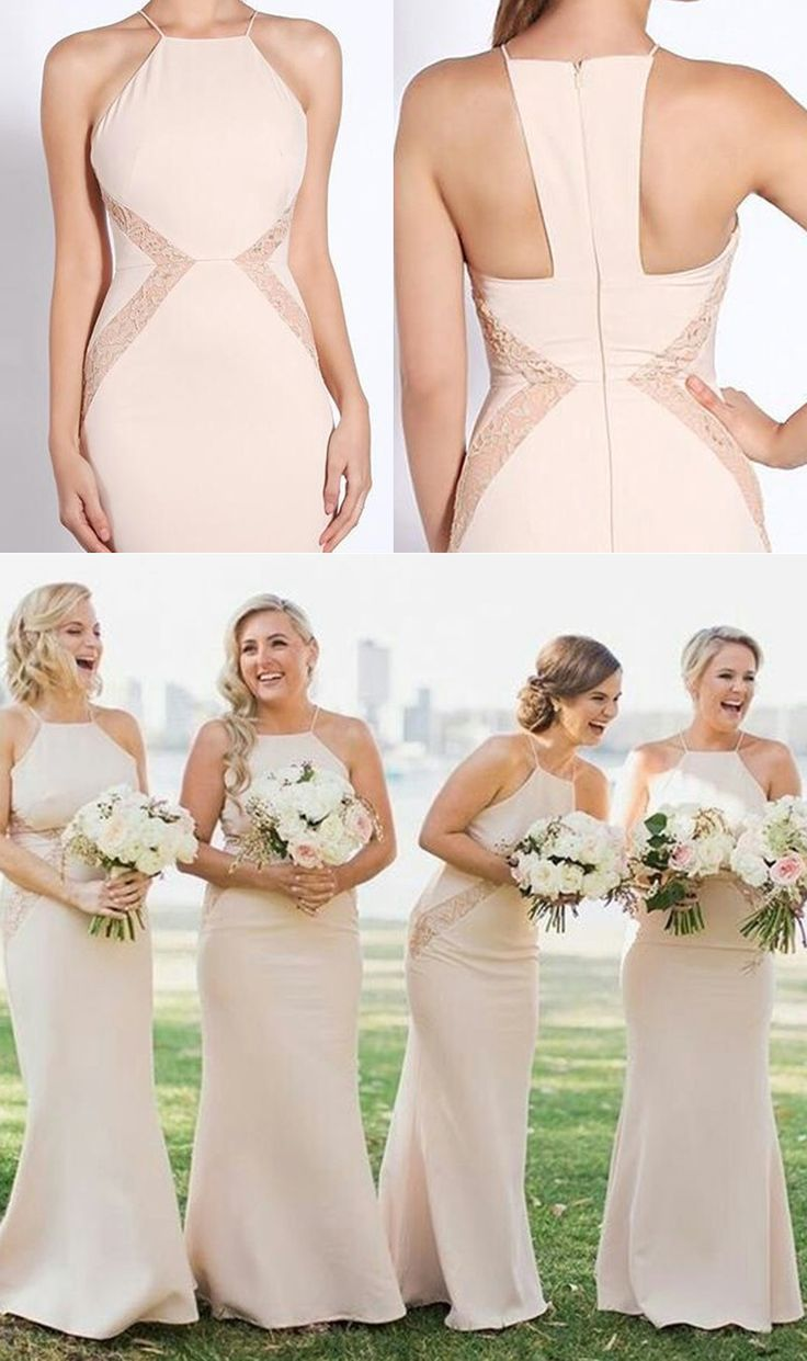 25 best diy bridesmaids gowns ideas on pinterest fairytale pearl pink sheath square floor length bridesmaid dress with lace ombrellifo Choice Image