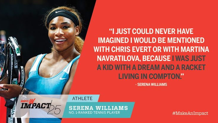 SERENA WILLIAMS, 33, WTA WORLD #1 - RANKED TENNIS PLAYER, 18-TIME GRAND SLAM CHAMPION!  Superstar Serena earned her 18th Grand Slam title at the US Open, joining Evert, Navratilova (4th on the All-Time list of Most Major Titles). RENA: 'Well, it's no secret. I'm going for the gusto. I'm going to try to catch up w/ Steffi. ..I'm really focused on 19, which will begin in Australia. Whether I get there or not, I don't know. But I know if I get to 19, the second it happens I will be thinking of…