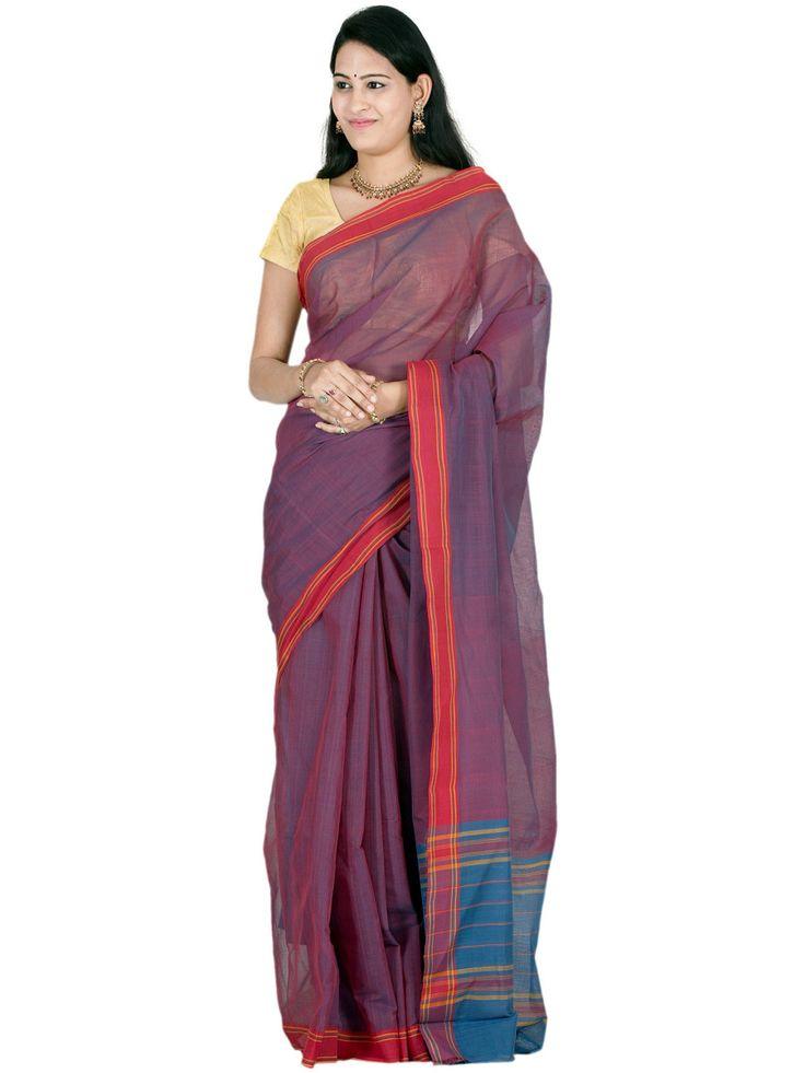Burgundy Venkatgiri Cotton Handloom Plain Sari
