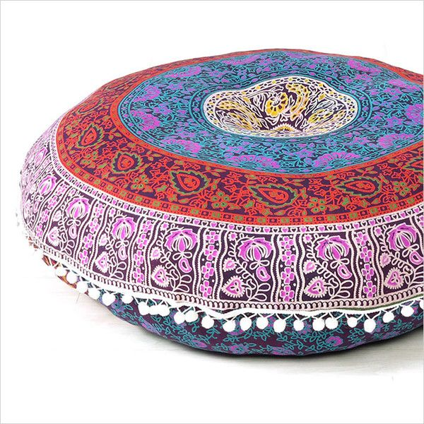 "Bean Bags & Floor Cushions – 32"" Large Round Floor Pillows Indian Mandala Throw – a unique product by IndianCraftPalace on DaWanda"