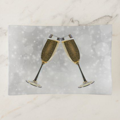 Champagne Glasses Celebration Gold on Silver Trinket Trays - anniversary cyo diy gift idea presents party celebration