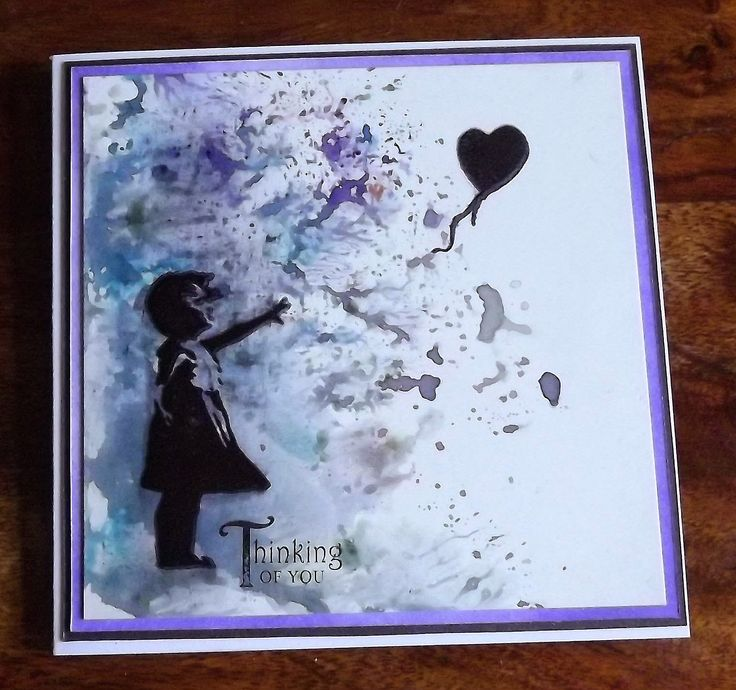 Sue playing with paper.: Banksy style girl & balloon stamp from inkylicious (mine is VLVS) on coated semi gloss card dragged through black brusho.  I forgot the card had a slippery surface and very quickly had to wipe the black archival skid across the page marks off before restamping using the fiskars stamp press