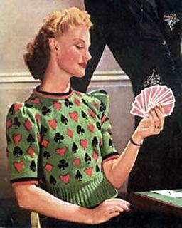 Een bridge trui, zo ga je echt chique een potje  kaarten  ;-)