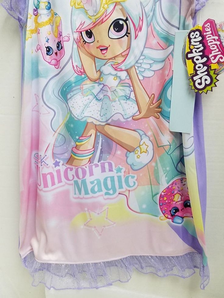 Shopkins unicorn Club Mystabella kids Pajama  Size Small Ruffles Glitter Purple  #Shopkins