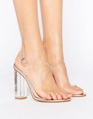 Public Desire Estella Clear Strappy Heeled Sandals