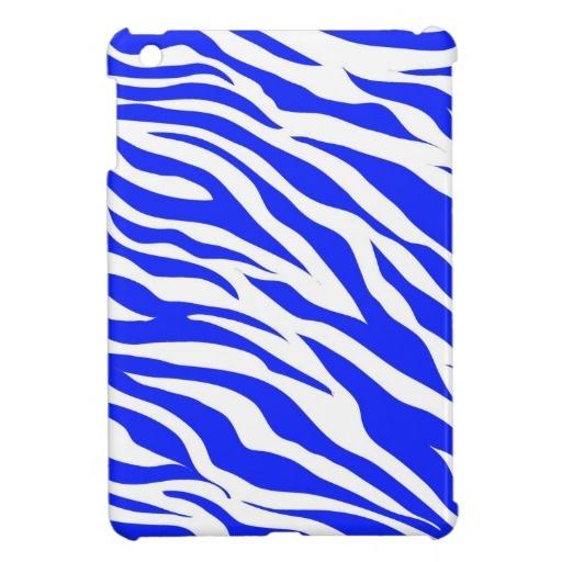 Trendy Blue White Zebra Stripes Wild Animal Prints iPad Mini Cover