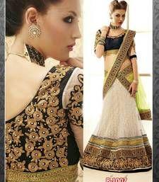 Buy White embroidered net unstitched lehenga-sarees lehenga-saree online